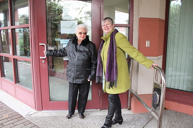 Long-time student Alberta Rafferty (left) and Elder College coordinator Sharon Blaker visit 'E' building of the UFV North Campus (45635 Yale Rd.)