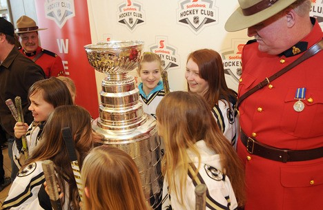 A group of Chilliwack female hockey players got the first look at the Stanley Cup went it came to town a week and a half ago.