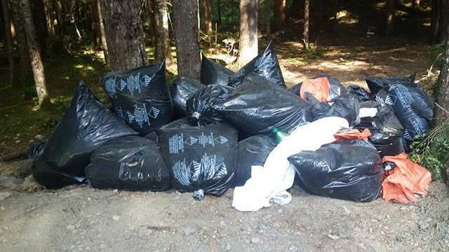 Bags of discarded asbestos lie scattered just off Chilliwack Lake Road.