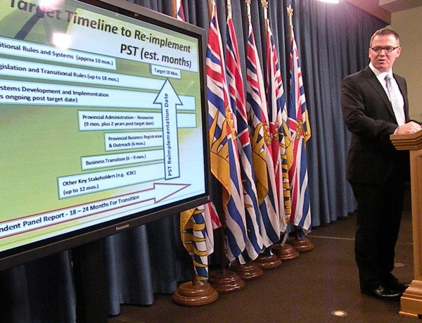 Finance Minister Kevin Falcon announces an 18-month transition period to switch B.C. businesses back to the old sales tax. It may be possible to do it sooner