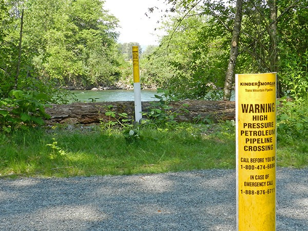 Where the existing Kinder Morgan pipeline crosses the Vedder River.