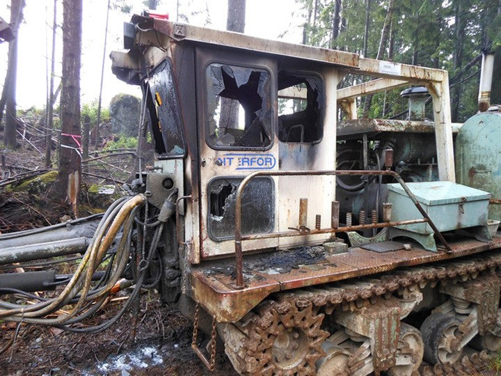 Excavator destroyed by suspected arson at Tamihi Logging site near Agassiz sometime between June 28 and July 3.