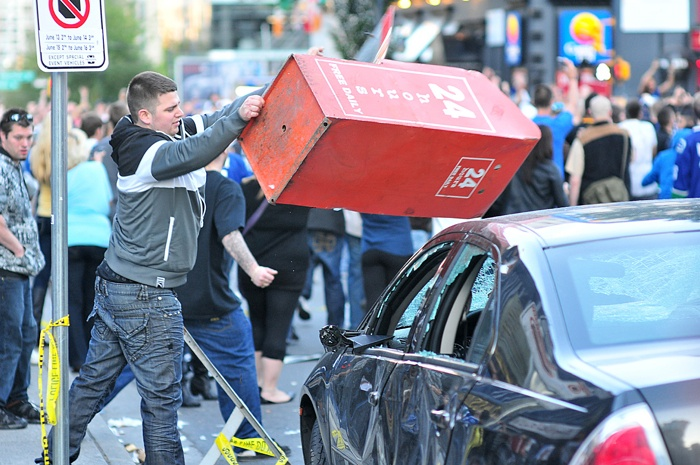 A man photographed at the June 15 Vancouver riot following the Canucks' Game 7 loss to the Stanley Cup-winning Boston Bruins.