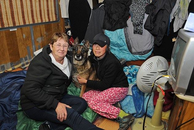 Sue Knudson (left) opened her motorhome on Thursday to Anna