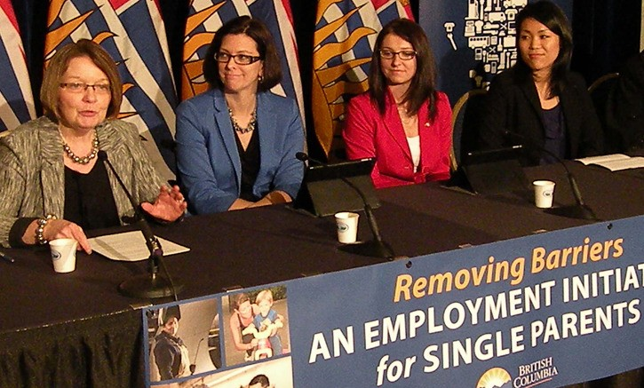 Jobs Minister Shirley Bond (left) announces new job training program with Children and Family Development Minister Stephanie Cadieux