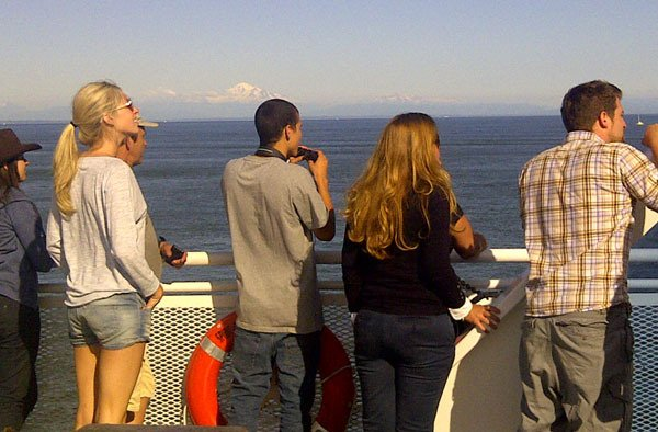 BC Ferries passengers enjoy view of Mount Baker and a glimpse of a pod of orcas in on their way to Vancouver Island.