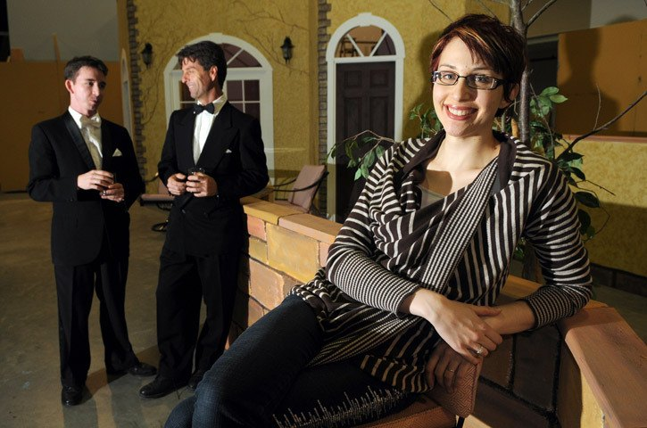 Emily Hamel is the director of the Chilliwack Players Guild's production of Sabrina Fair. Behind her are two of the main character's love interests
