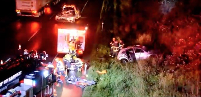 Crash during Saturday night's storm on Highway 1 caused severe head injuries for the driver of this car.