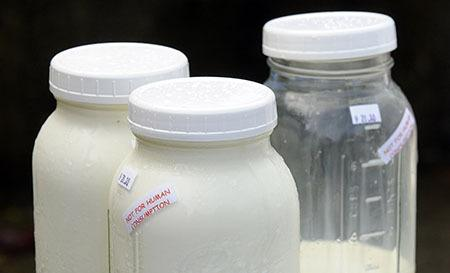 Raw milk labeled 'Not for human consumption.'