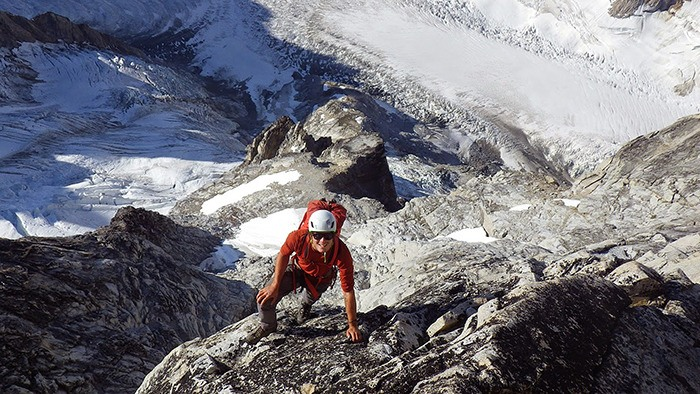 Happiest scrambling over rocks and finding his way to the top of steep mountain peaks