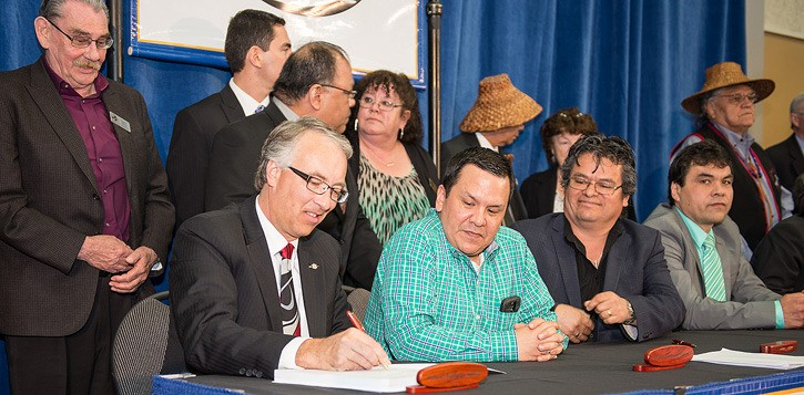B.C. Aboriginal Relations Minister John Rustad signs agreement in principle with five Vancouver Island First Nations April 9. It establishes land and cash settlement
