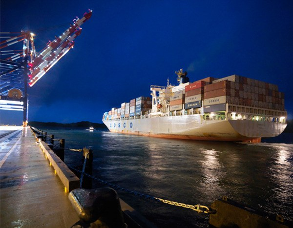 Container ship leaves Prince Rupert. Facilities also include Ridley Island terminal for bulk goods such as coal and potash