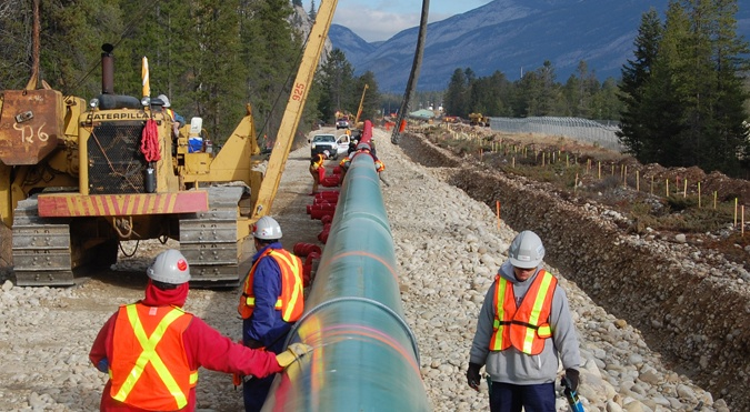 A section of Kinder Morgan's Trans Mountain pipeline being twinned in Jasper National Park in 2008.