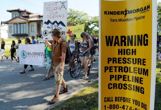 The Kinder Morgan pipeline is a continuing target of protests in B.C.