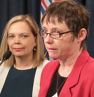 Community Minister Coralee Oakes and UBCM president Rhona Martin announce changes to local government elections to be held in November.