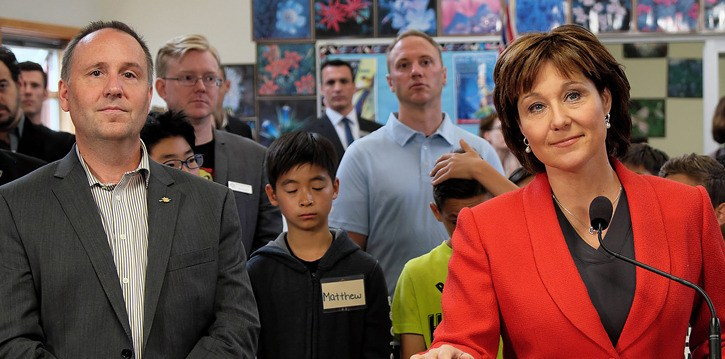Education Minister Mike Bernier and Premier Christy Clark announce new education funding