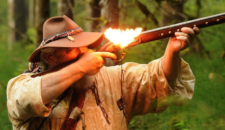 Jim 'Tiny' George fires at a target. The Fraser Valley Frontiersmen Black Powder Club's 40th annual Buffalo Shoot took place July 21-23