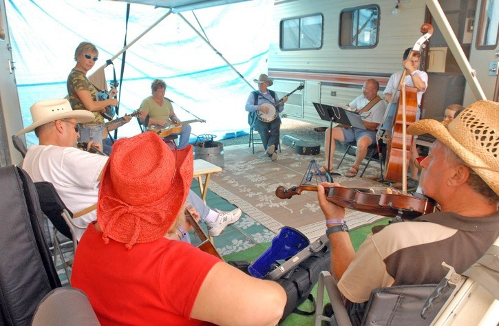 Jam sessions in the parking lot campground were a regular feature at the Chilliwack Bluegrass Festival