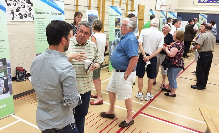Residents question city councillors and staff during the second of three community engagement meetings Wednesday night at Tyson Elementary. The meeting included information about the Fraser Valley Sweep initiative aimed at fighting property crimes.
