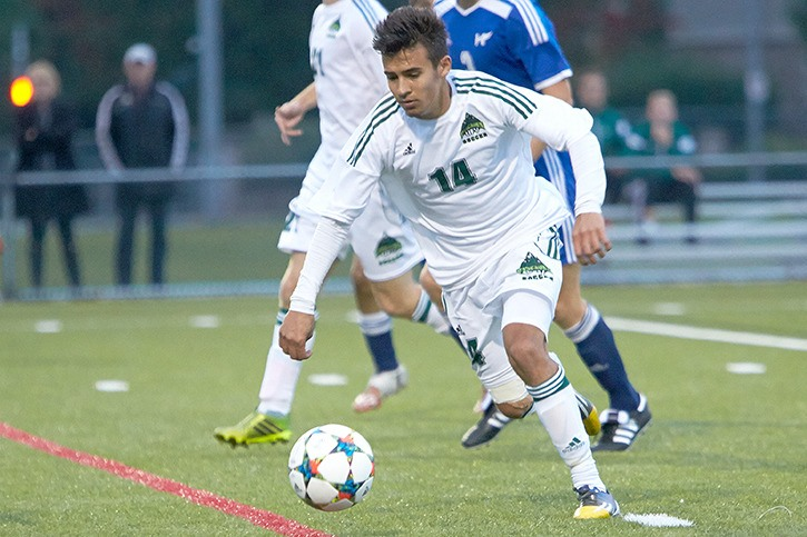 Chilliwackian Connor MacMillan patrolling the pitch for the UFV Cascades.