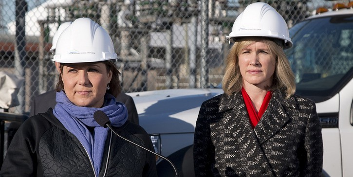 Premier Christy Clark and BC Hydro CEO Jessica McDonald announce main contractor for Site C dam construction at a BC Hydro substation in Burnaby Wednesday.
