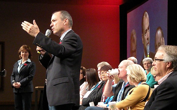 Agriculture Minister Norm Letnick responds to a delegate's question at the B.C. Liberal Party convention in Vancouver Saturday.