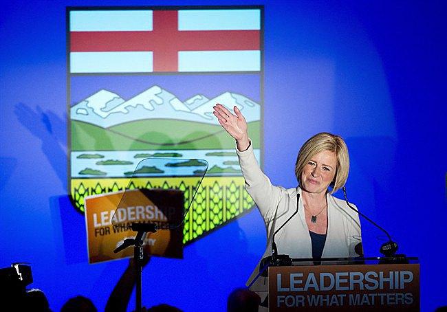 Alberta premier-elect Rachel Notley celebrates her majority government May 5.