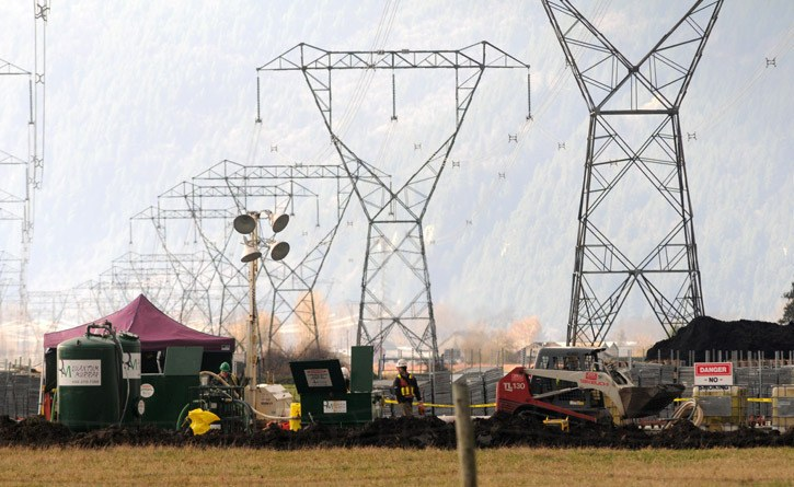 Crews continue to clean up at the BC Hydro substation on Lickman Road Wednesday afternoon.