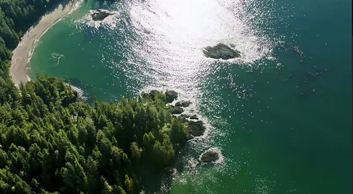 Drone cameras were used for aerial views of Nimmo Bay on the B.C. Central Coast.