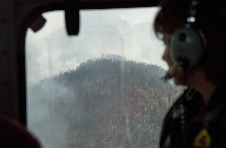 Premier Christy Clark surveys fires threatening Oliver and Midway from the air Aug. 16.