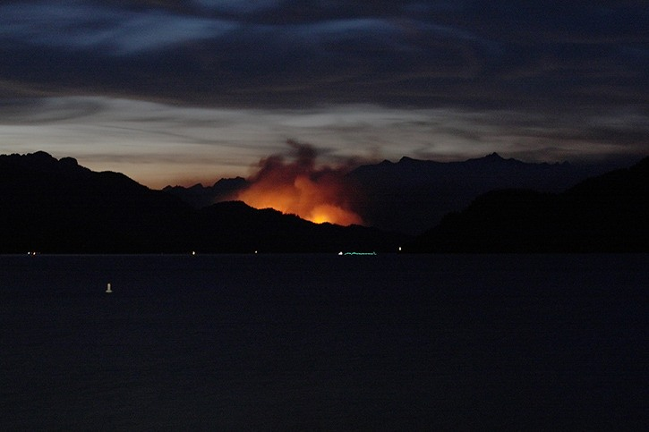 The Wood Lake fire as viewed August 2. The blaze has gone from an initial reported seven hectares to more than 200 hectares as of Tuesday morning.