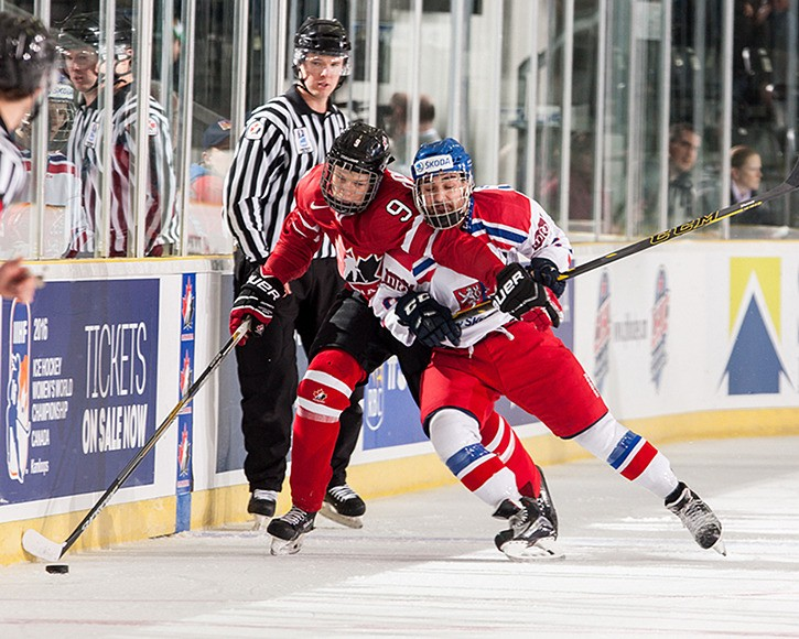 Chilliwack Chiefs defenceman Dennis Cholowski (left) wards off a Czech Republic defender during the opening game of the World Junior A Challenge. Cholowski and his Canada West teammates held off the Czechs and advanced to beat Russia for a 2-1 gold medal win.