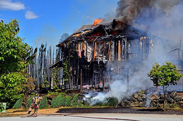 A home on Grove Avenue in Promontory was destroyed by fire Saturday afternoon.
