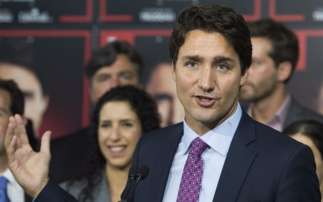 Liberal party leader Justin Trudeau speaks to supporters duirng a 2015 federal election campaing stop in the riding of Papineau in Montreal Tuesday