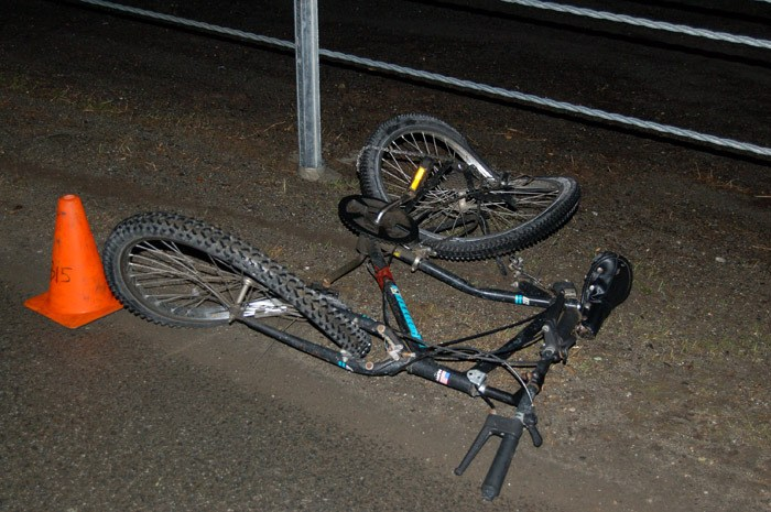 RCMP photo of the bicycle ridden by 50-year-old Rock Wallace Hudson when he was struck and killed early Wednesday morning on Highway 1 near Evans Road.