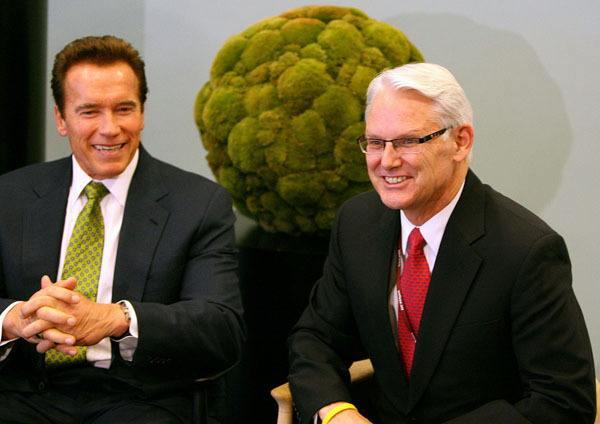 Former California governor Arnold Schwarzenegger and former B.C. premier at climate conference in Copenhagen