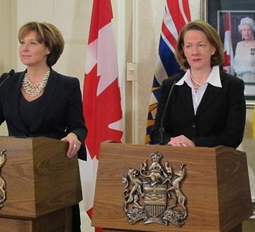 B.C. Premier Christy Clark and Alberta Premier Alison Redford at western premiers' meeting in 2012.