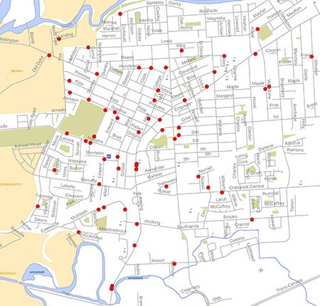 Map issued by Chilliwack RCMP illustrating areas on the north side of the city that have been hit recently with property thefts.