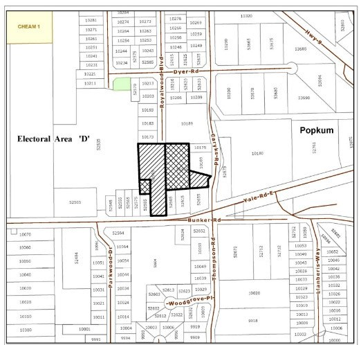 An area map from a mailout from the Fraser Valley Regional District. The crosshatched areas are the site of a proposed new 13-lot subdivision in Popkum.