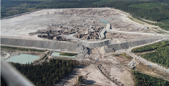 Repair and temporary dam at Mount Polley Mine near Williams Lake.