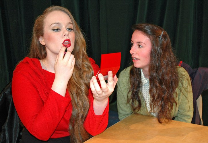Natasha Ray and Renee Reeve rehearse for UFV's upcoming production of Dead Man's Cell Phone which opens Jan. 13.