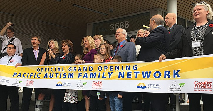 Premier Christy Clark joined staff of the Pacific Autism Family Network to cut the ribbon on the GoodLife Fitness Family Autism Hub Wednesday afternoon.