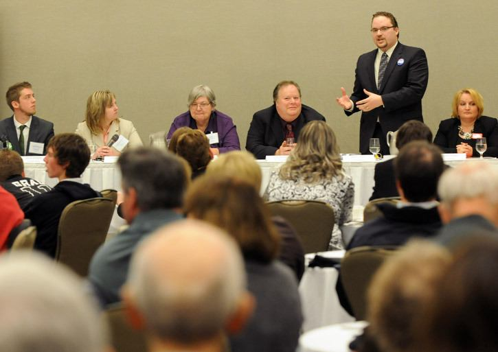 Conservative Mark Strahl speaks during the all-candidates meeting at the Coast Chilliwack Hotel on Thursday.