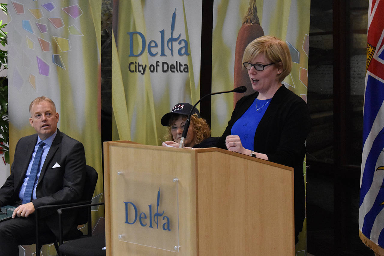 Delta MP and Minister of Public Services and Procurement Carla Qualtrough announced Tuesday, Nov. 14 that the Canadian Interagency Forest Fire Centre will receive nearly $1.5 million in funding. (Grace Kennedy photo)