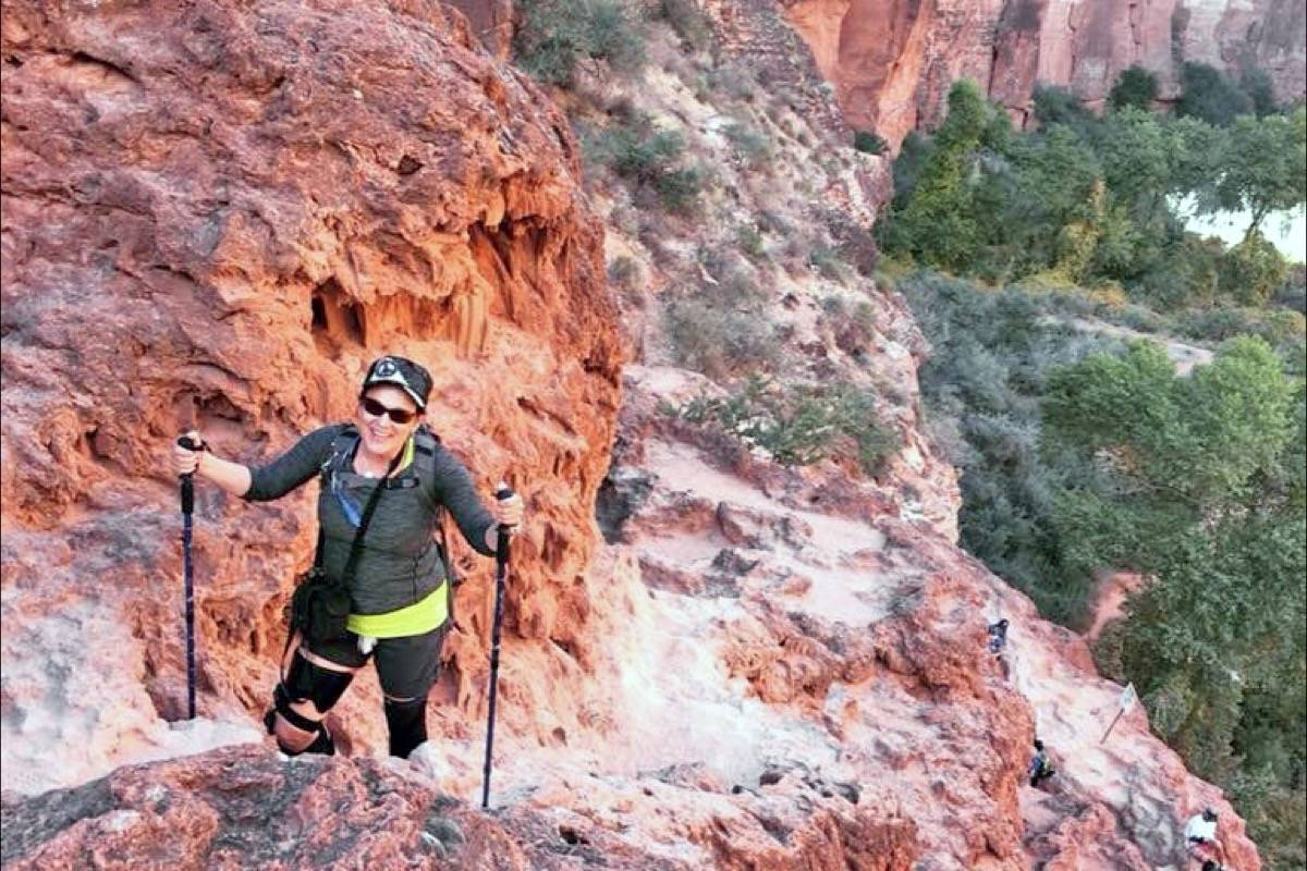 Hiker Donna Klaver is all smiles during her recent Grand Canyon trek, a bucket-list trip organized by South Surrey resident Jeri Cox. (Contributed photo)
