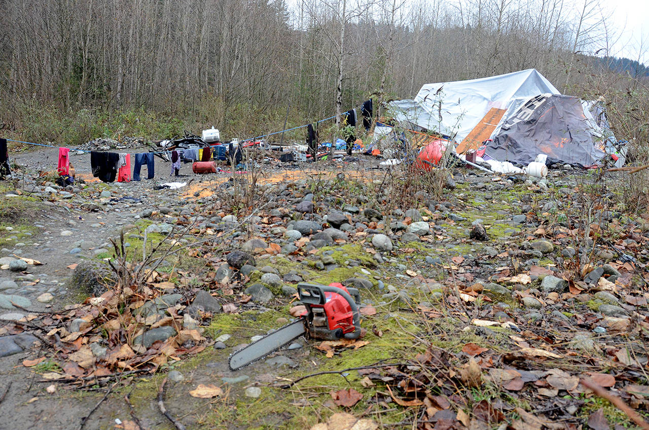 The homeless camp in the banks of the Chilliwack River near the Vedder Bridge. (Paul Henderson/ The Progress)