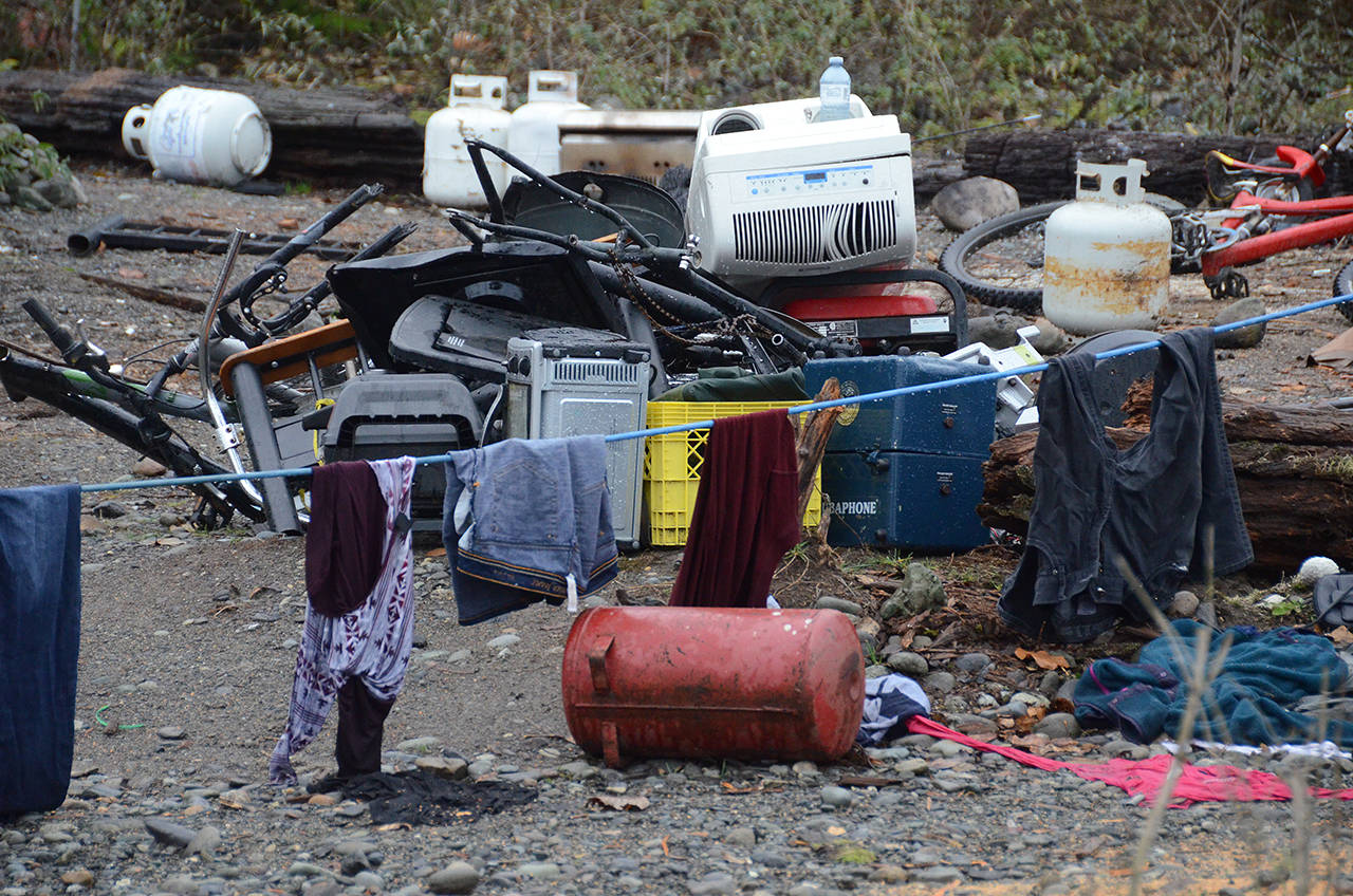 Debris at the homeless camp in the banks of the Chilliwack River near the Vedder Bridge. (Paul Henderson/ The Progress)