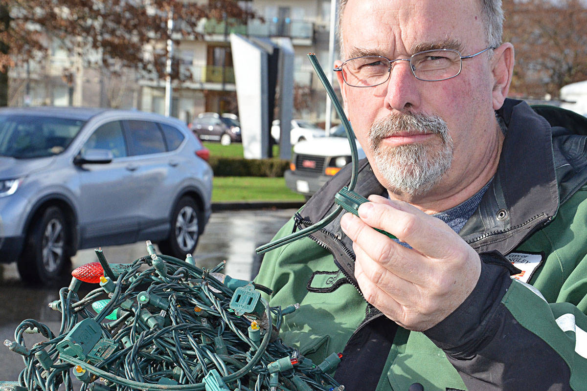 Langley City has had to replace Christmas lights in the downtown more than once this holiday season due to vandalism. Geoff Mallory, the City's manager of parks, said the lights in front of the Douglas Recreation Centre and in the area of Glover Road have been targetted. (Heather Colpitts/Black Press)