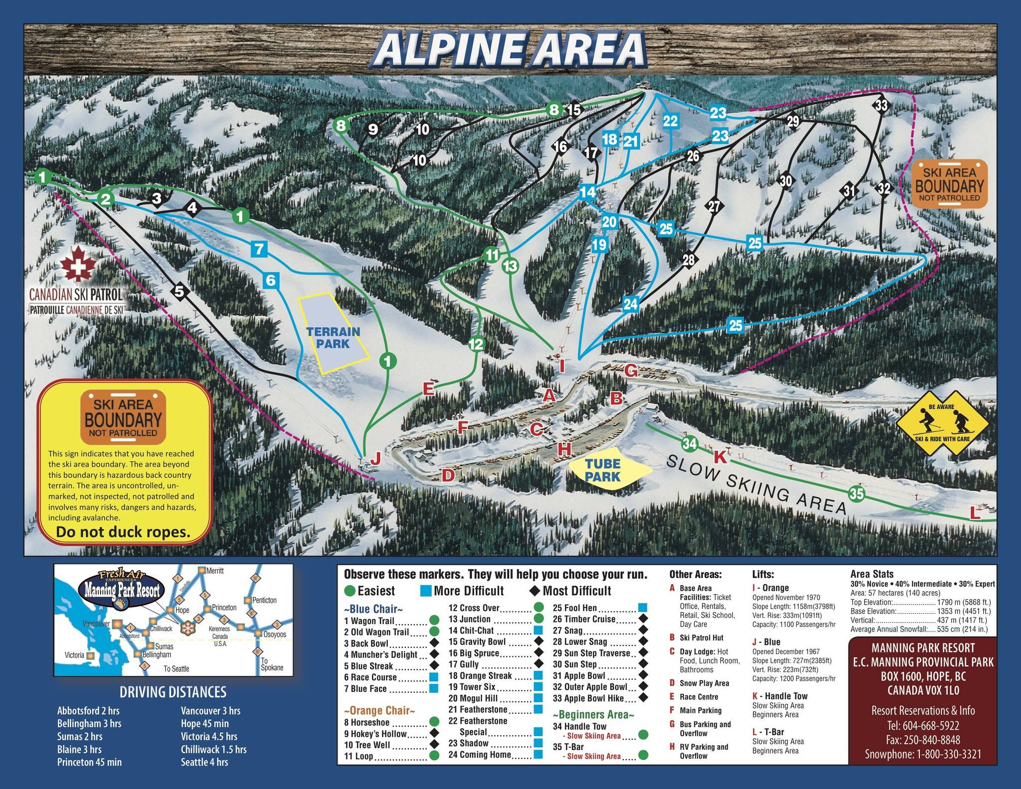 The Orange Chairlift (indicated by the letter I) which services the main ski area at Manning Park Resort will be replaced with a new quad (four-person) chairlift at the end of this ski season. Manning Park Resort map