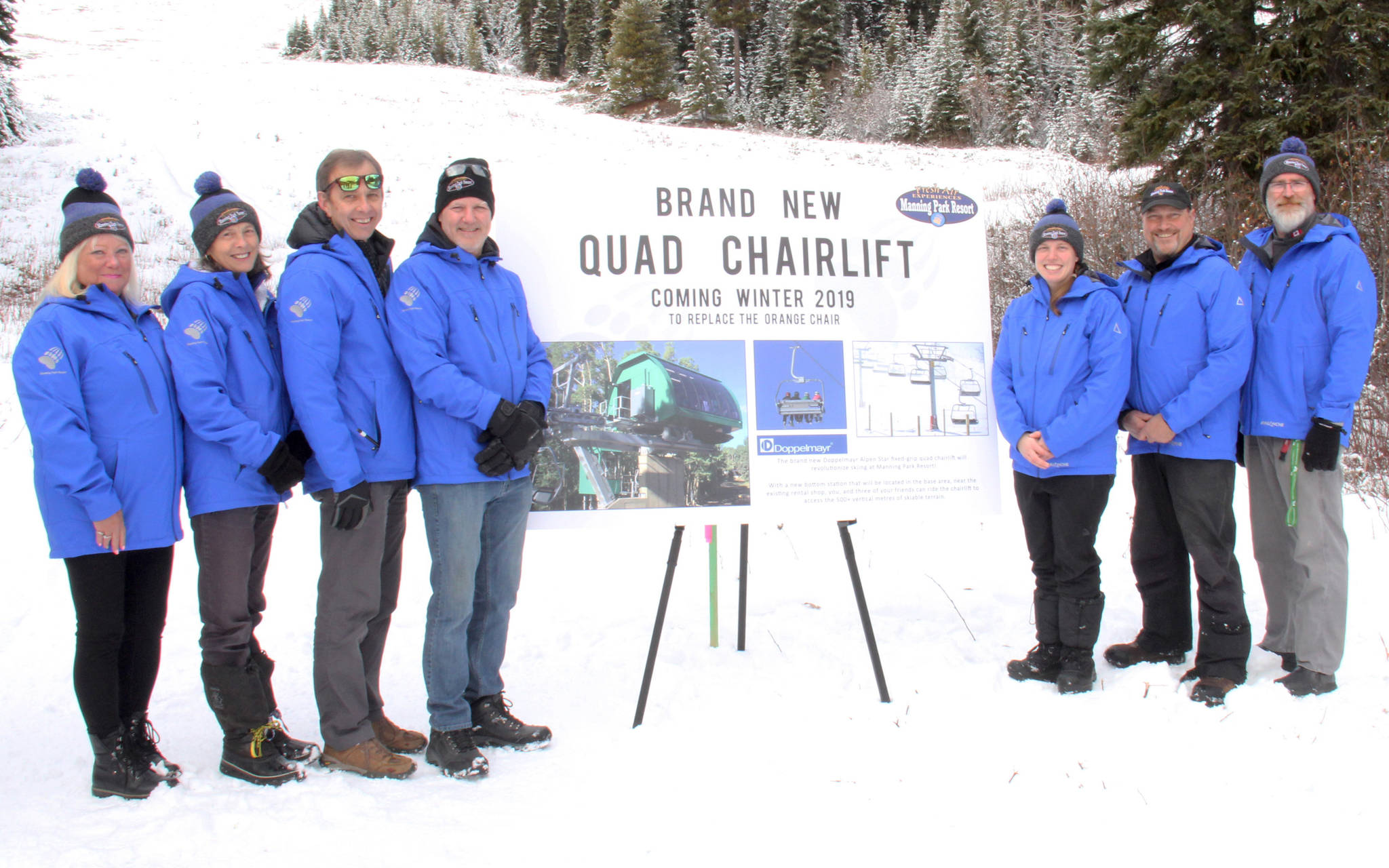 The Manning Park Resort management team unveiled plans for a new quad chairlift Nov. 25. They are, from left, Corrina Sawers, Terri Watson, Vern Schram, Don Sharpe, Robyn Barker, Andy Boulé and Matt Bergin. Missing from the photo is Kristina Davis. Manning Park Resort photo